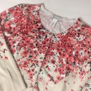 WHBM tan floral pink cardigan sweater EUC large